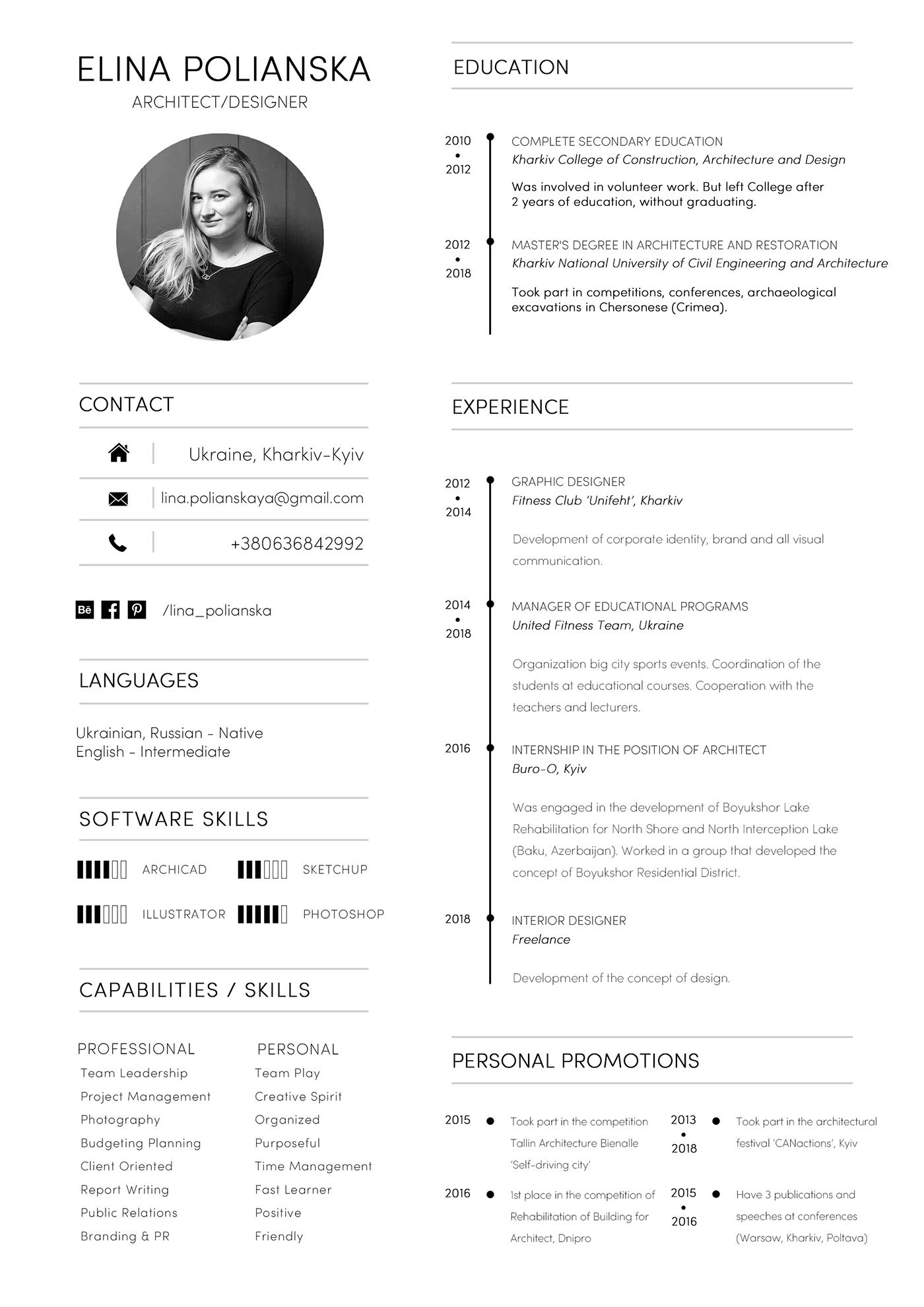 architecture resume  portfolio  cv  architect cv