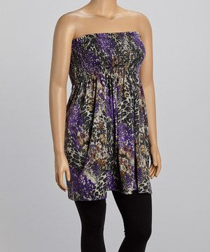 This Purple & Olive Floral Smocked Top - Plus by Yummy is perfect! #zulilyfinds