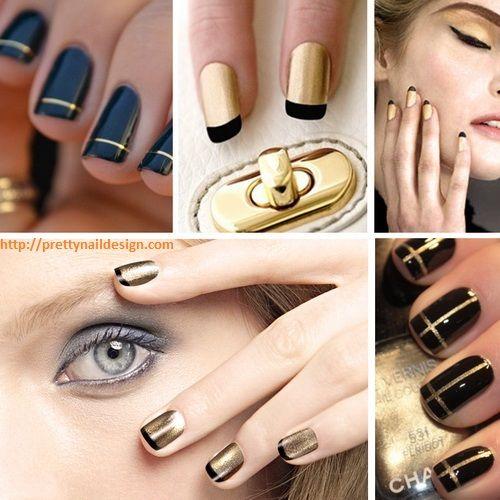 Black And Gold Nail Designs Pretty Nail Designs Pinterest Gold