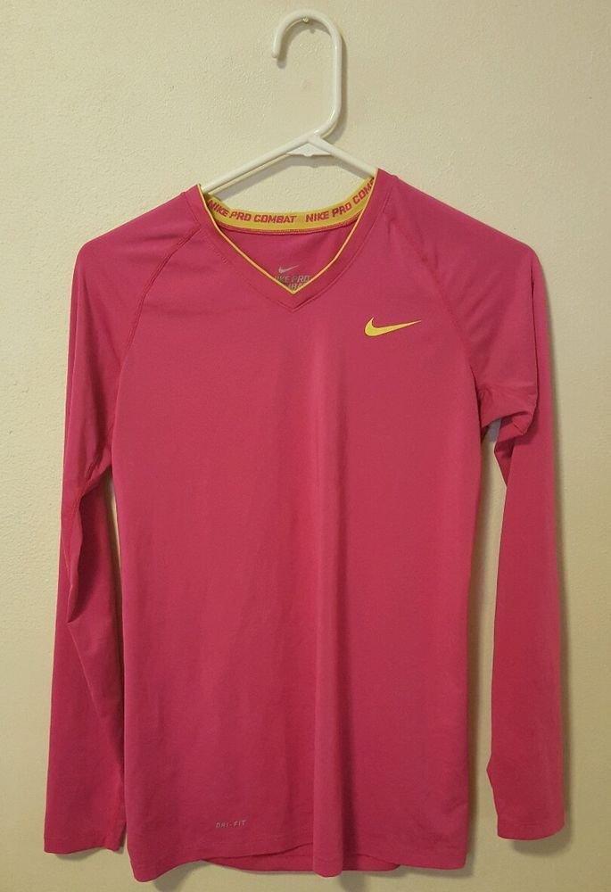 f24f6bbe2a Women's Pink Nike Pro Combat Dri-Fit Long Sleeve Top Size Medium ...