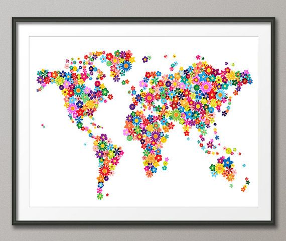 Flowers map of the world map art print 18x24 inch 179 by artpause flowers map of the world map art print 18x24 inch 179 by artpause 1499 gumiabroncs Gallery