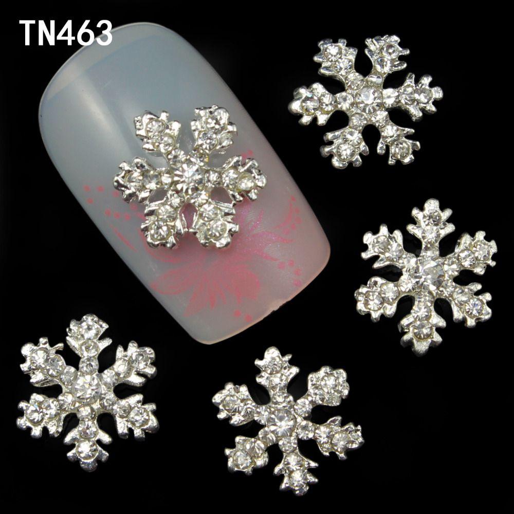 10 stuks aluminium 3d nail art stickers witte sneeuwvlokken kerst ...