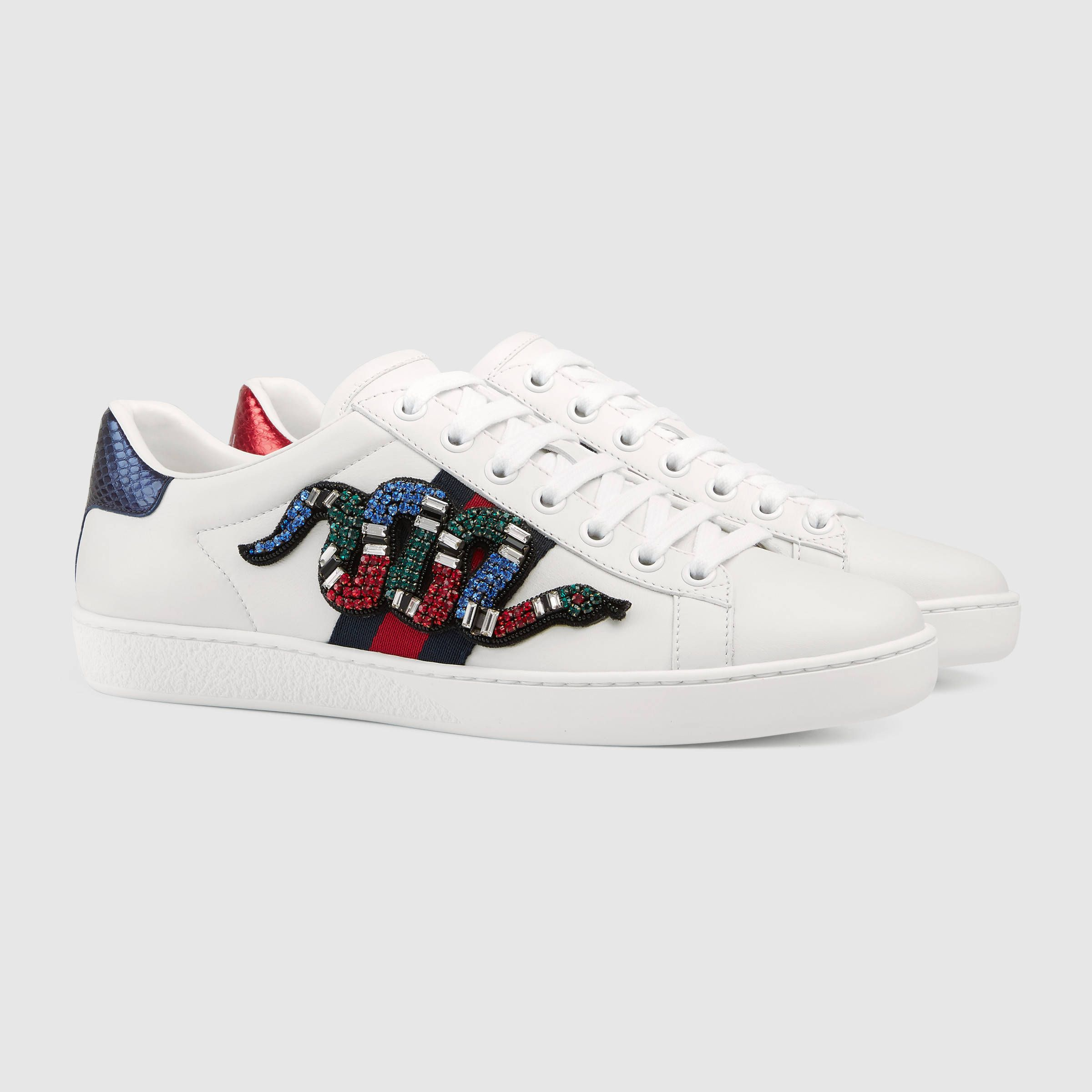 230b2e69731 Gucci New Ace Embellished Lace Up Low Top Sneakers. Designer Clothes