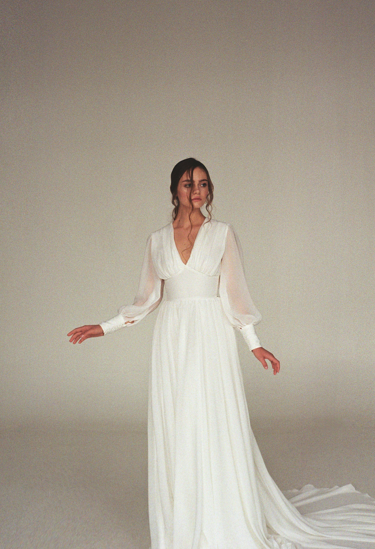 Long Sleeve Wedding Dress Boho Bishop Sleeve Wedding Dress Etsy Long Sleeve Wedding Dress Boho Etsy Wedding Dress Boho Wedding Dress Bohemian [ 3000 x 2051 Pixel ]