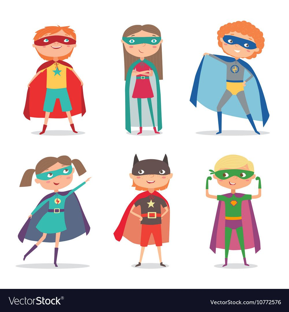 Superhero Kids Boys And Girls Cartoon Vector Image On With Images