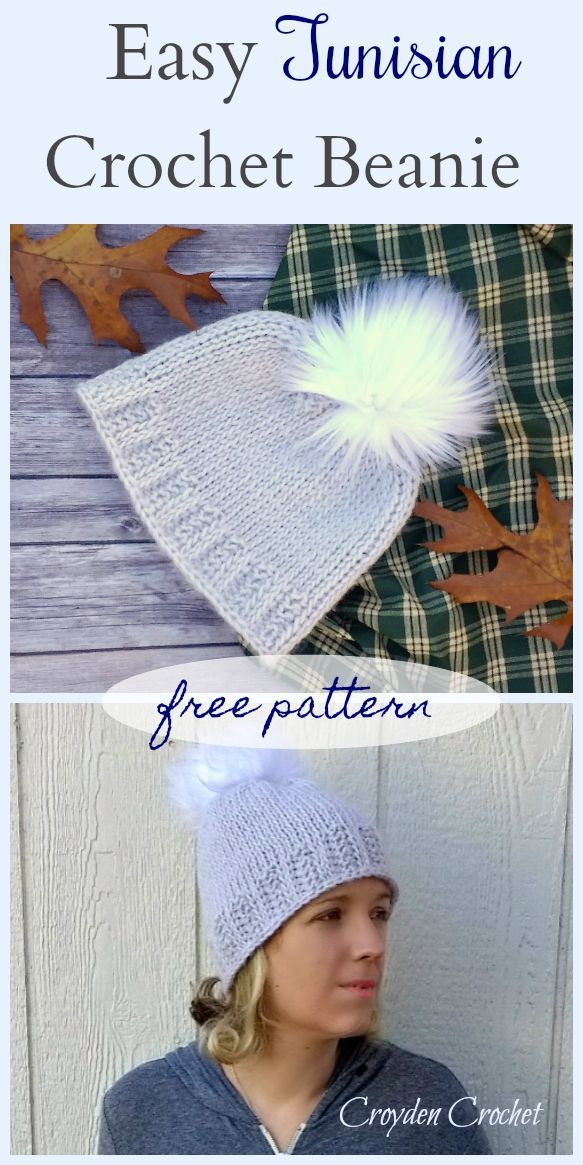 Easy Tunisian Crochet Beanie - A free pattern by