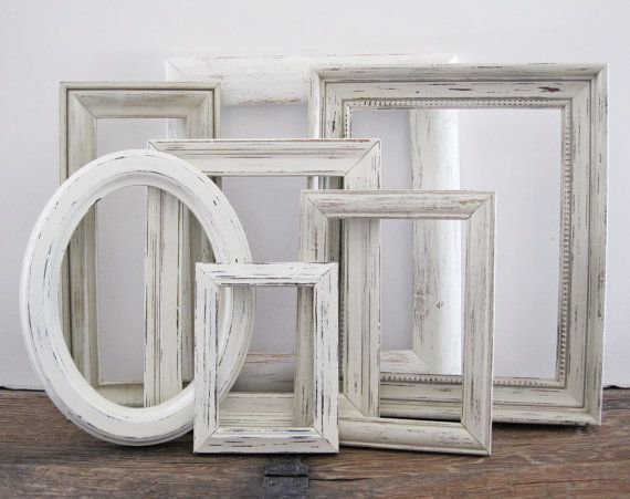 Empty Picture Frame Set Of 7 Antique White Shabby Chic Wall Decor ...