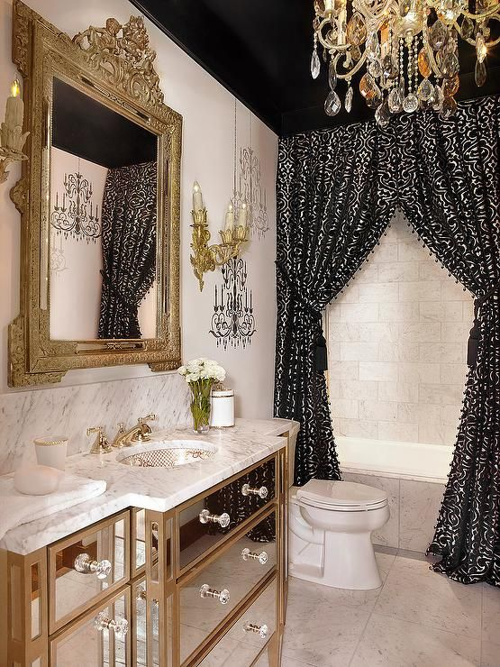 Black And Gold Baroque Bathroom Features A Black Ceiling Accented