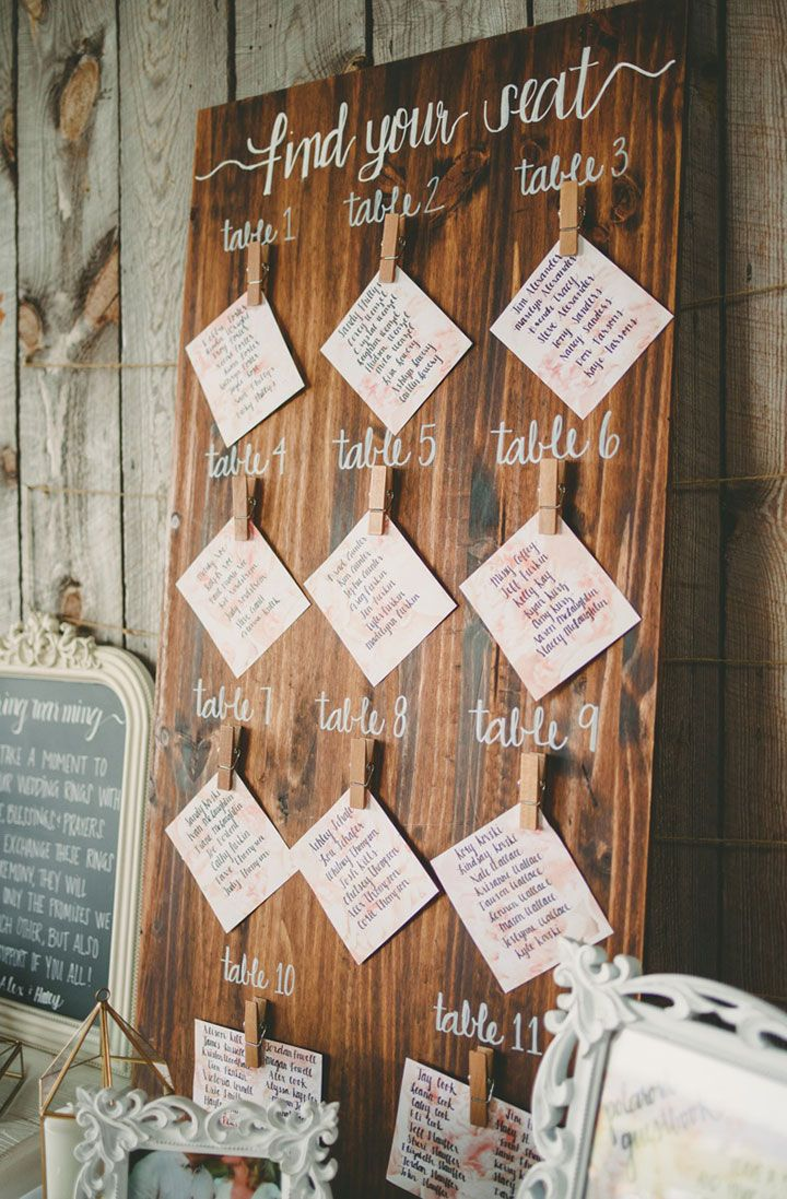 Rustic Seating Chart Kate Spencer Photography Escort Cards