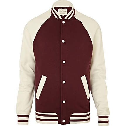 dark red raglan baseball jacket - jackets - coats / jackets - men ...