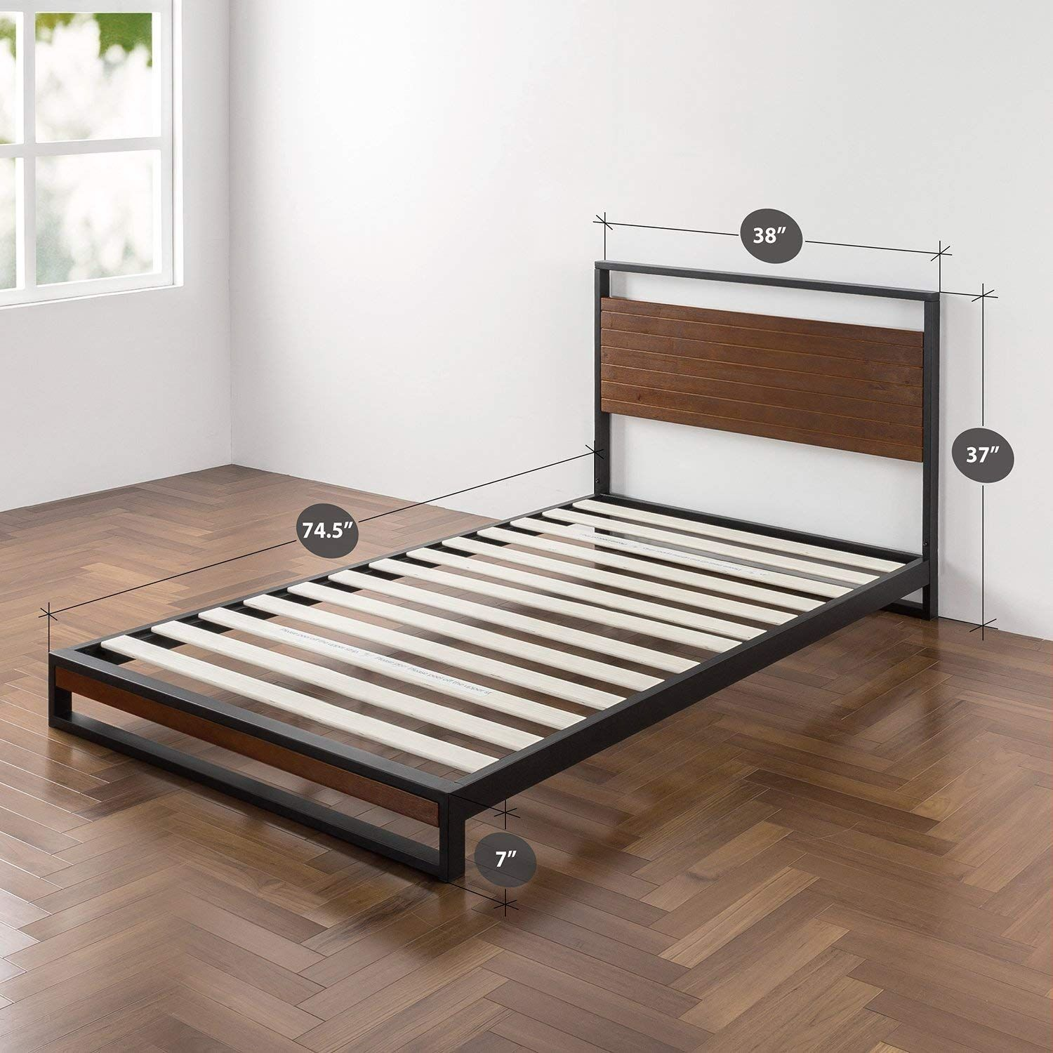 Zinus Suzanne Metal And Wood Platform Bed With Headboard Box