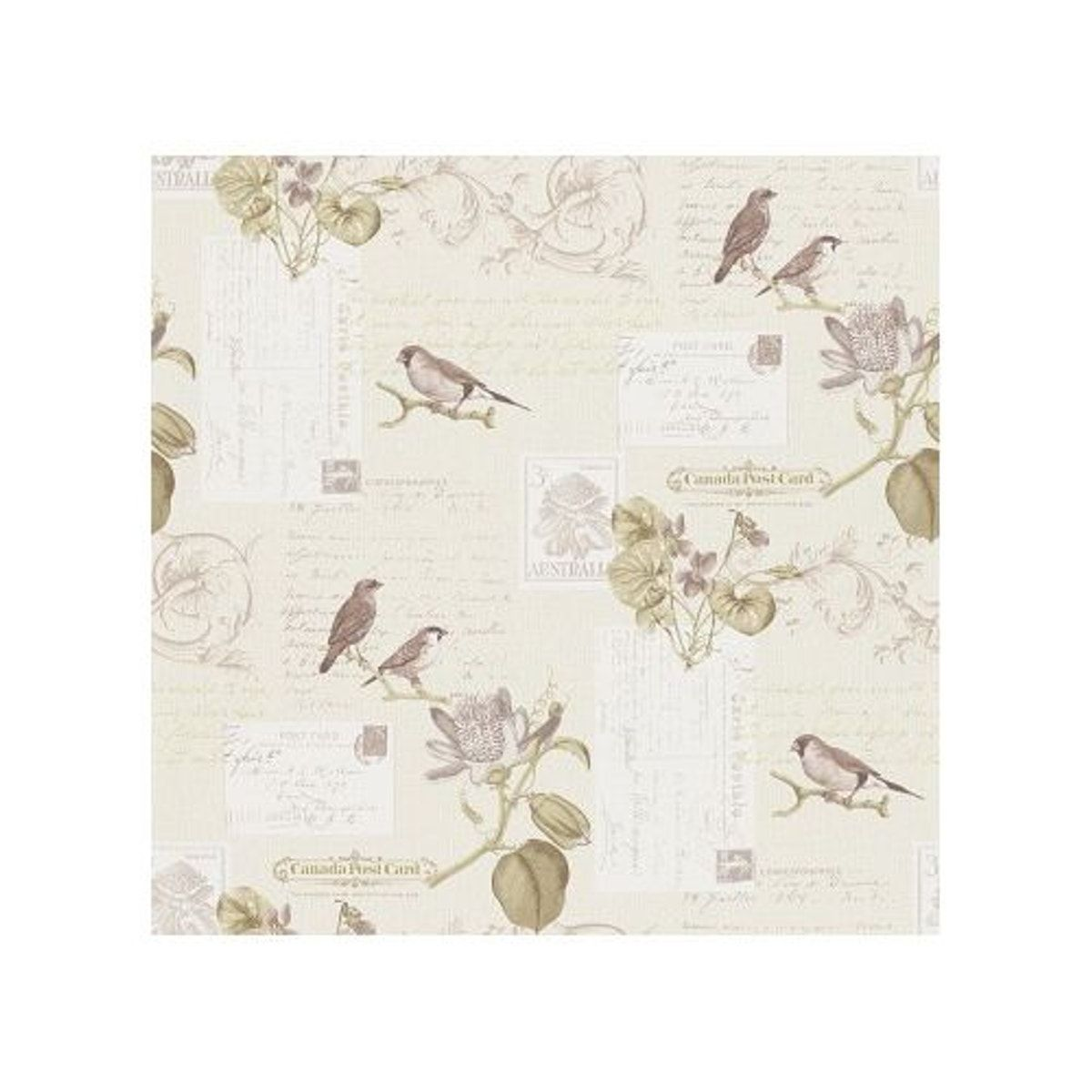 Papier Peint Carte Postale Oiseaux En Sepia Taille Taille