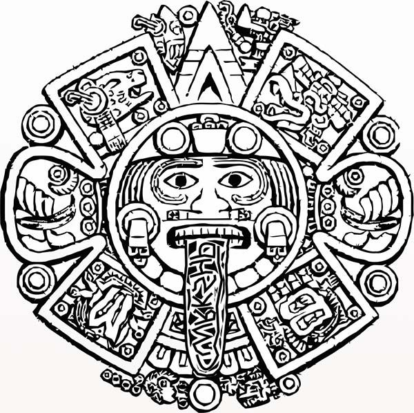 Aztec Calendar Drawing : Aztec calendar stone coloring pages … library stuff pinte…