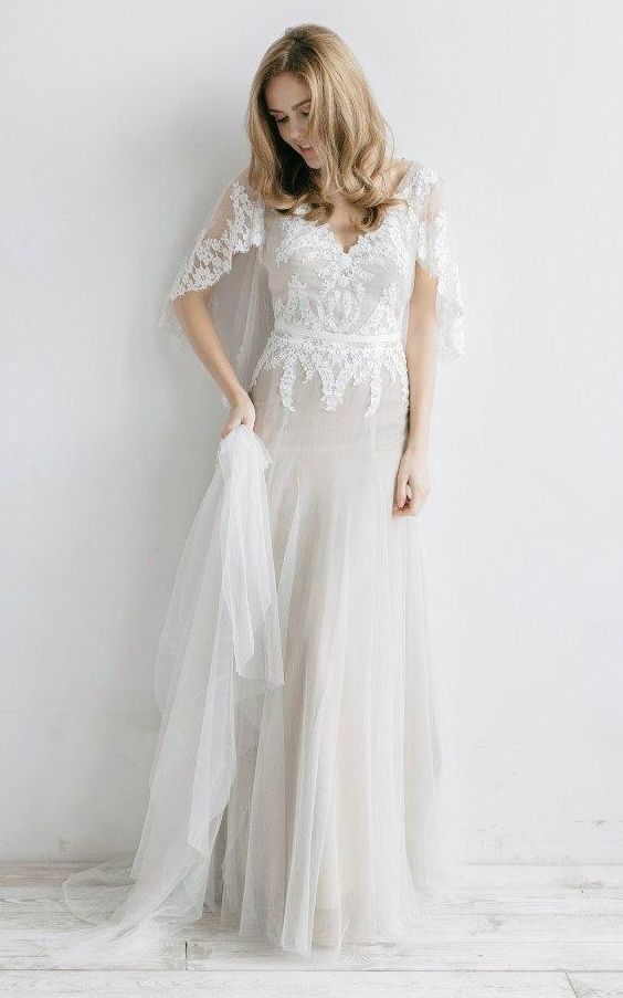 Backless Boho Wedding Dress with Bat Sleeves Spring Country Bridal ...