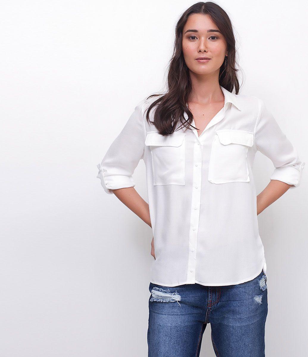 Camisa feminina Manga longa Com bolsos frontais Marca  Marfinno Tecido   Viscose Composição  100 dbabcb8b6d2