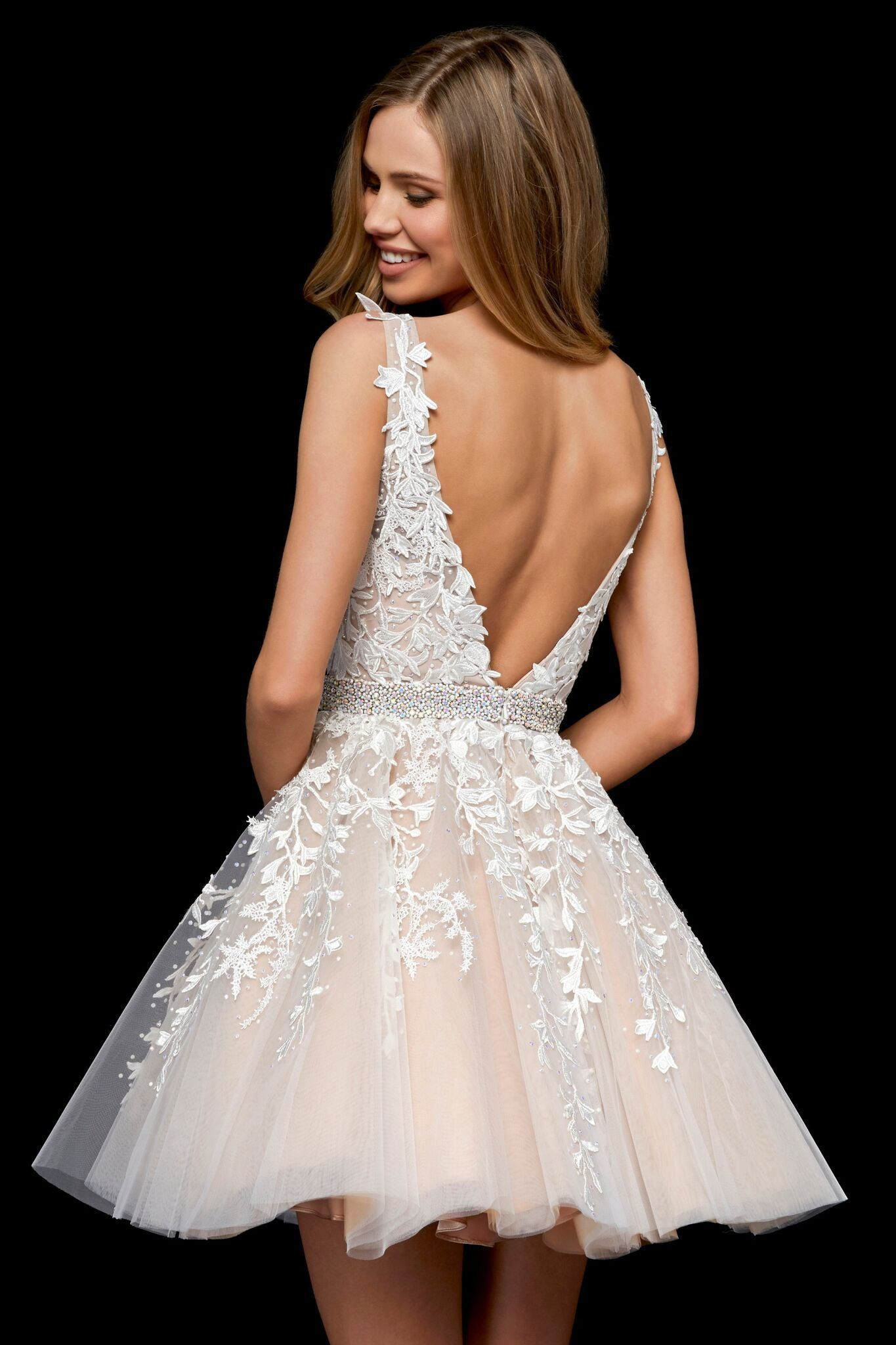 formelle kleider Sherri Hill - 20 Beaded Lace Tulle V Neck A