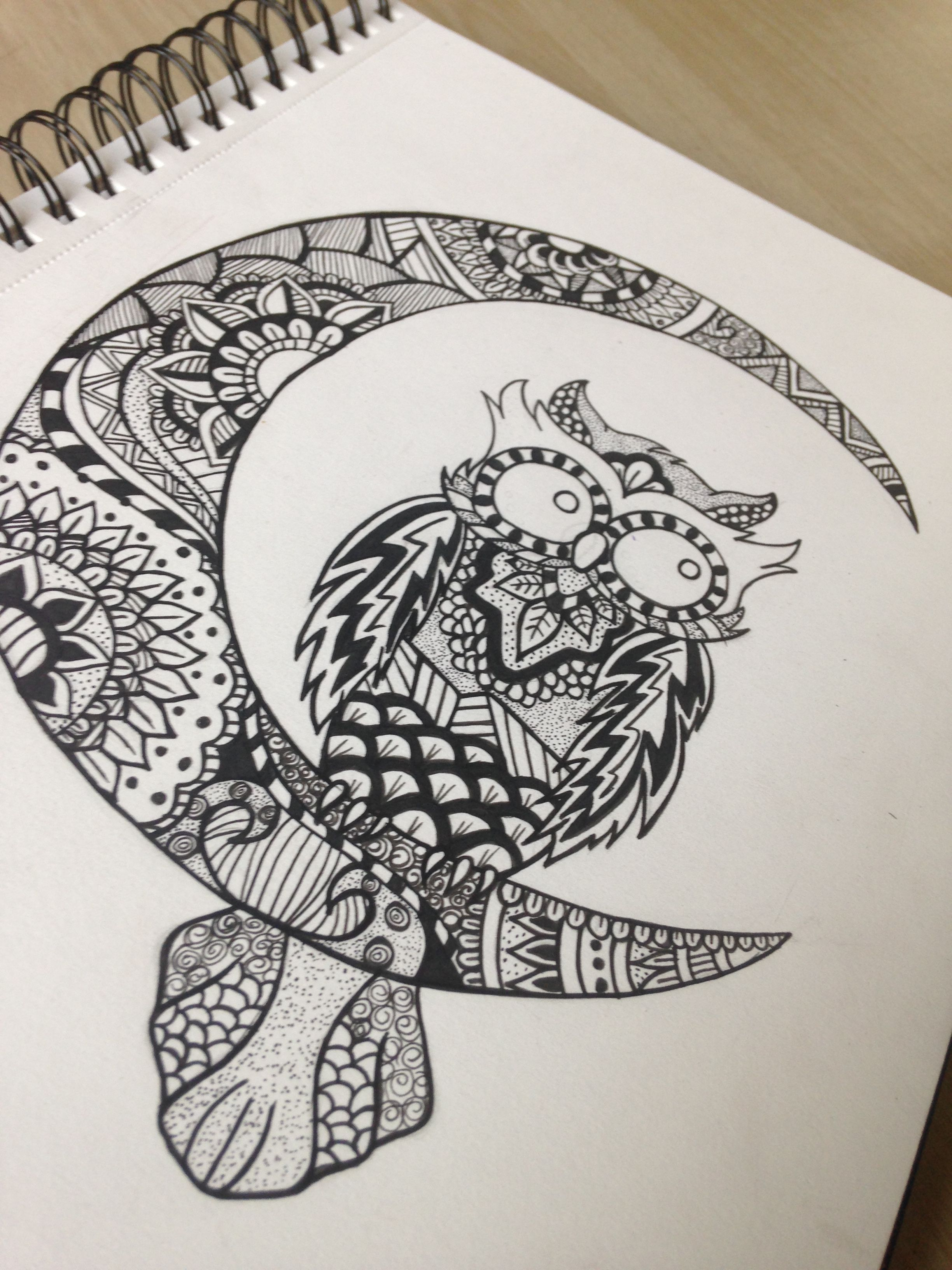 Mandala/zentangle owl drawn by me