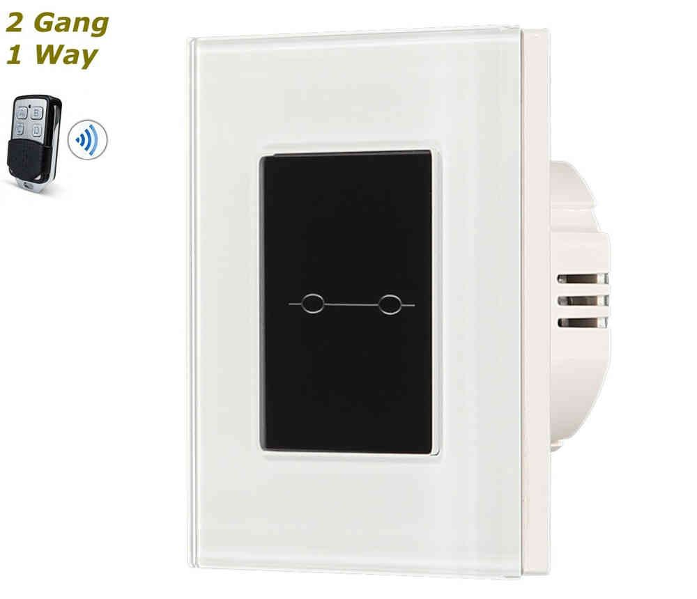 White & Black Glass Frame Remote Control Touch Panel Light Switch On/Off 2 Gang 1 Way #touchpanel