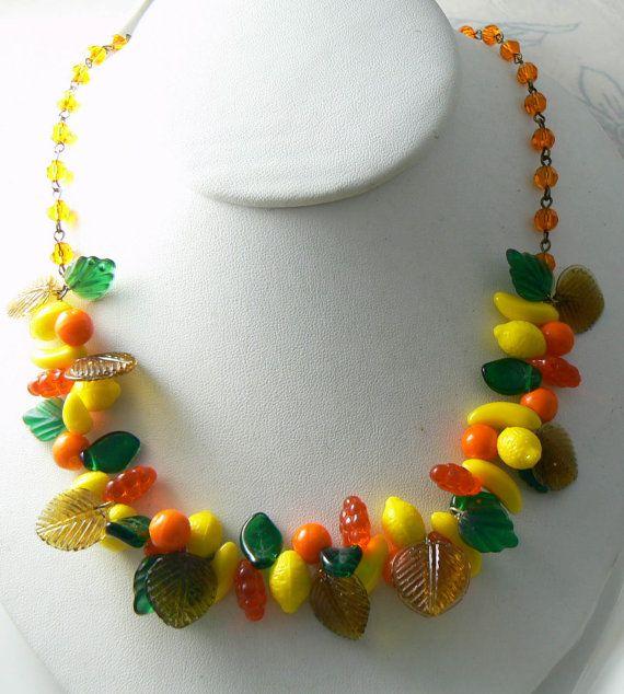 Vintage Glass Fruit Salad Necklace Unique Vintage Antique Etsy Fruit Jewelry Unique Necklaces Fruit Necklace