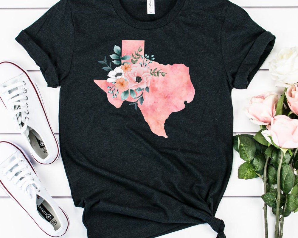 Texas Home State Watercolor Floral Shirt Texas Floral Shirt