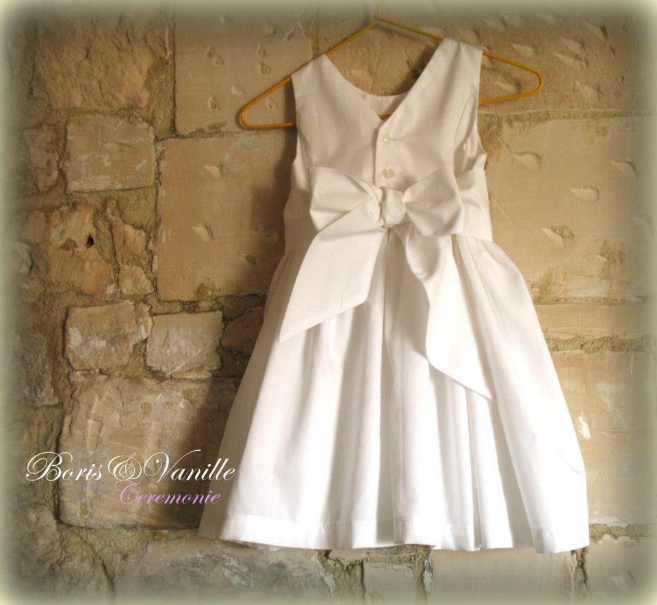 Robe de cérémonie en coton blanc pour bébé  46887ce530b
