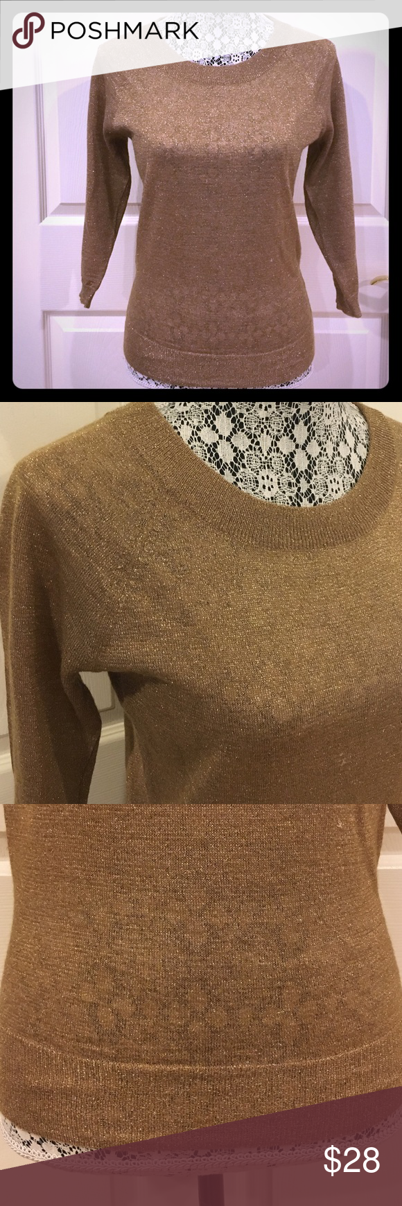 Madewell Gold Sweater Madewell sweater. Gold metallic material. 56% acrylic, 19% polyester, 14% mohair, and 11% metallic. Madewell Sweaters Crew & Scoop Necks