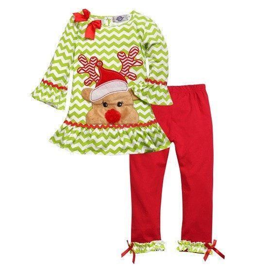 714430296 Long sleeve dot dress + stripe pants 2 pcs Christmas clothing set ...