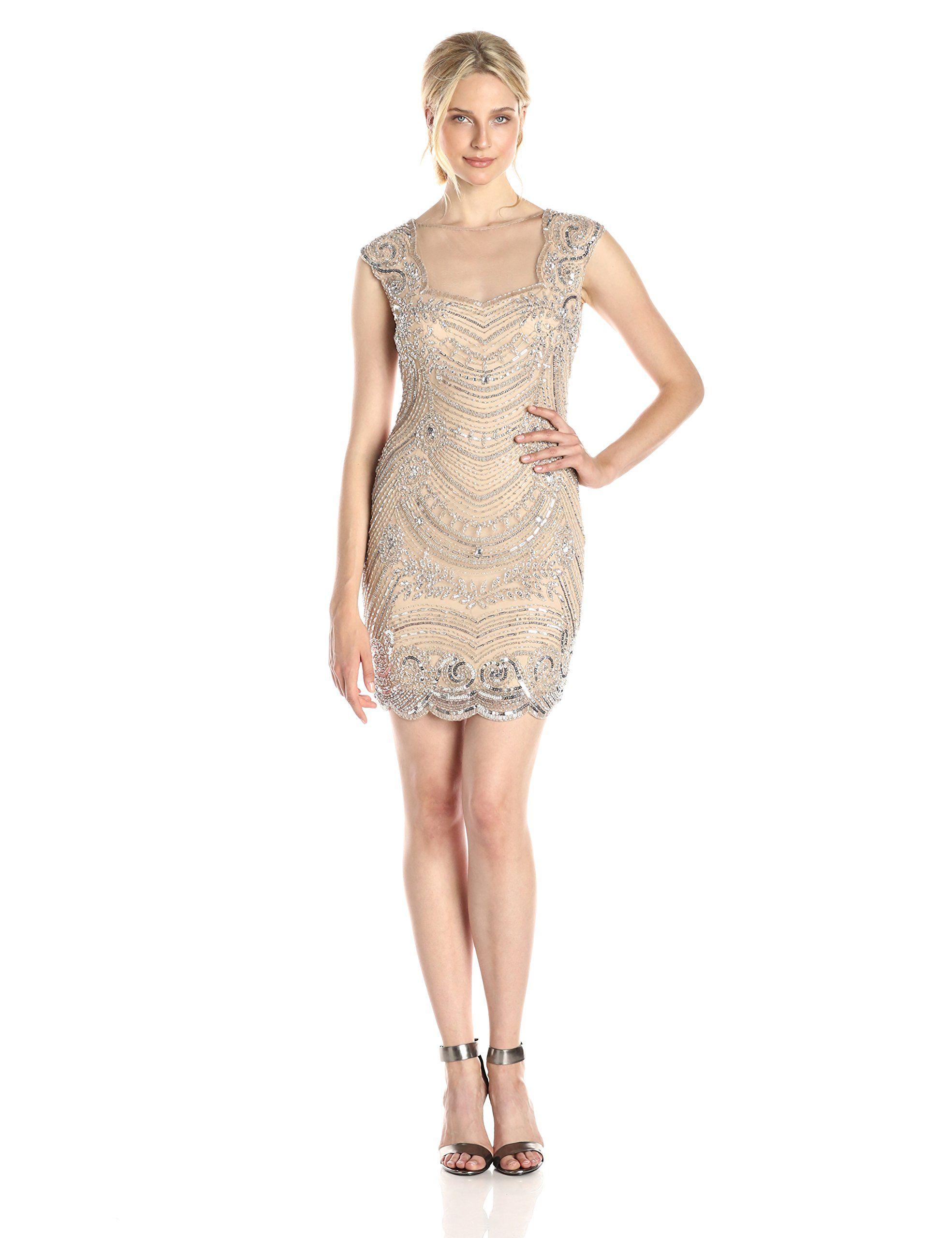 197d676165b Amazon.com  Adrianna Papell Women s Short Beaded Dress with Illusion Back