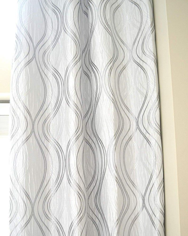 Extra Long Jacquard Curtain With White And Gray Silver Geometrical Pattern Grommet Top 12 15 16 17 18 19 20 24 Ft Story Great Room Ikiriska Curtains Pattern Curtains Living Room Grey And White Curtains