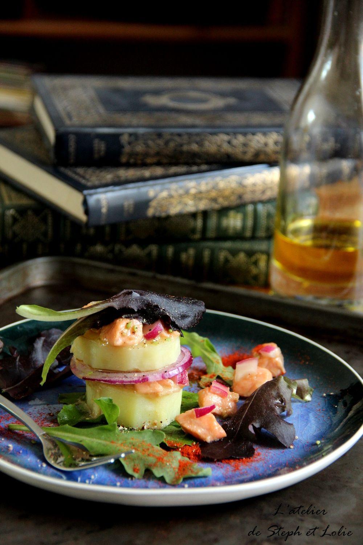 Mille-Feuilles de pommes de terre au saumon cru marine: Millefeuille potatoes marinated raw salmon