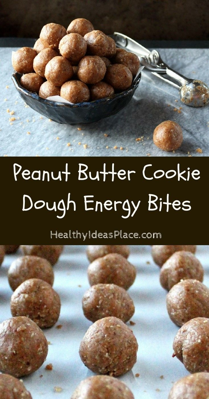 Peanut Butter Cookie Dough Energy Bites - Tastes like peanut butter cookie dough but have more to offer nutritionally than traditional cookie dough. They're great for a quick snack or treat in the afternoon, or a pre- or post-workout fuel for your body. #recipe #energybites #peanutbutter #snack