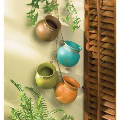 Set Of 2 Dangling 6 Small Clay Pots On Rope Hanging Pots Southwestern Decorating Flower Pots