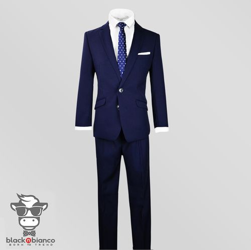 7b5869ea4052 Black N Bianco Signature Boys Navy Slim Fit Suit with poka dot white and  blue slim tie.
