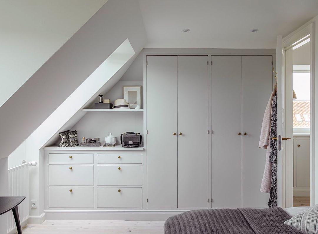 """Kvänum Kök AB's Instagram photo: """"Bedroom goals, custom made wardrobes in a modern Classic and light gray style #kvänum #vikby #bedroom #bedroominspo"""""""