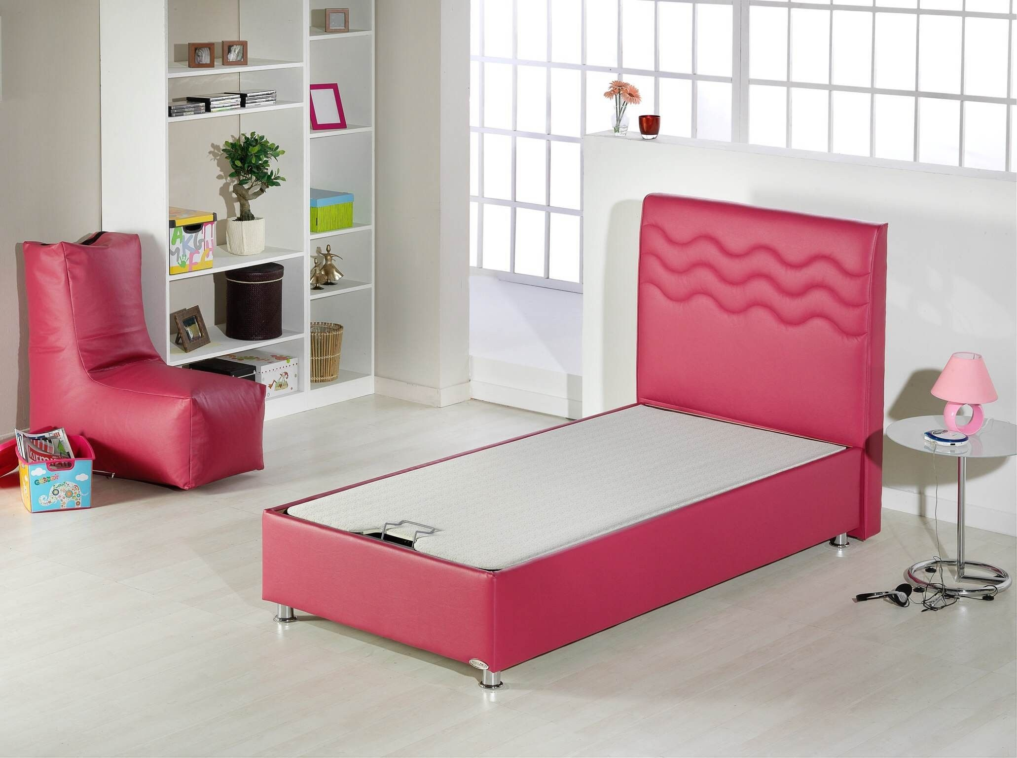 Furniture Bedroom Extra Long Pink Upholstered Bed Frame Mixed White Mattress And Round Side Table Extra Long Twin