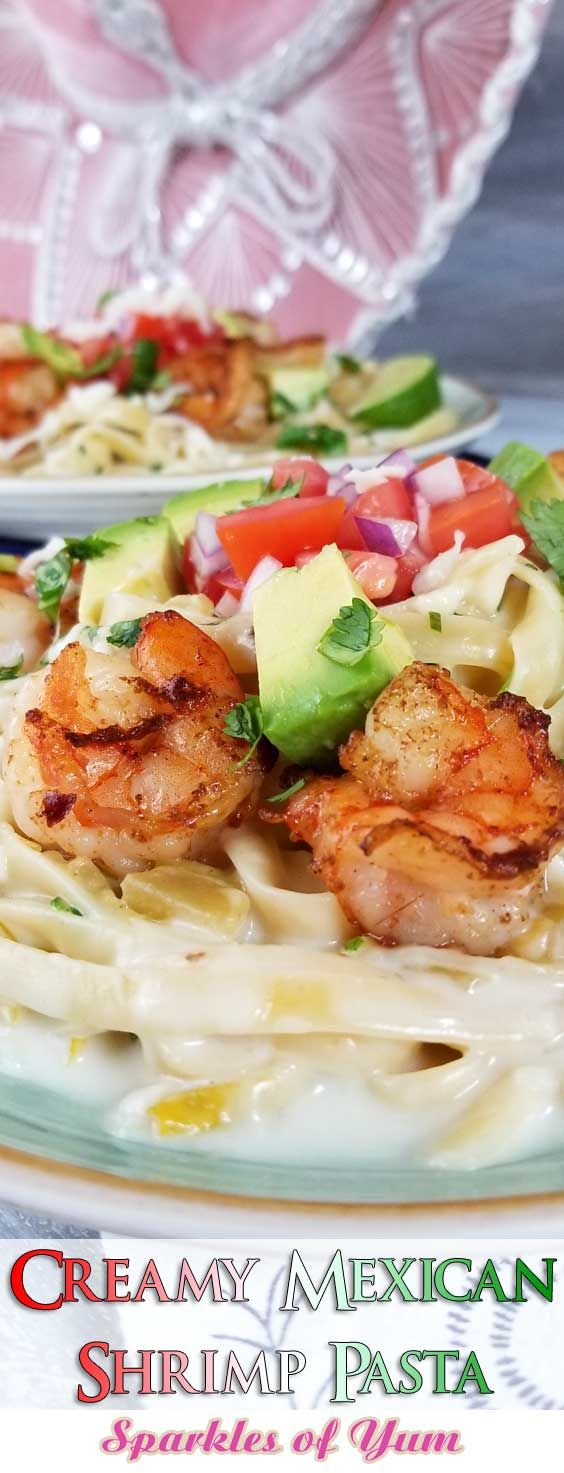 Creamy Mexican Shrimp Pasta - This is a simple, flavorful creation that's ready to party on your plate! Creamy cheesy sauce, buttery shrimp, and Pico De Gallo all make this Creamy Mexican Shrimp Pasta Recipe a love fest for your taste buds! #pastarecipe #mexicanrecipe #shrimprecipe #mexicanshrimp via @sparklesofyum #mexicanshrimprecipes