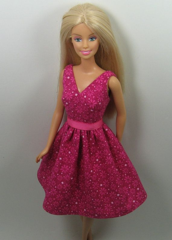 Barbie Doll Clothes - Fushia Print Dress for the 1999 Barbie body ...