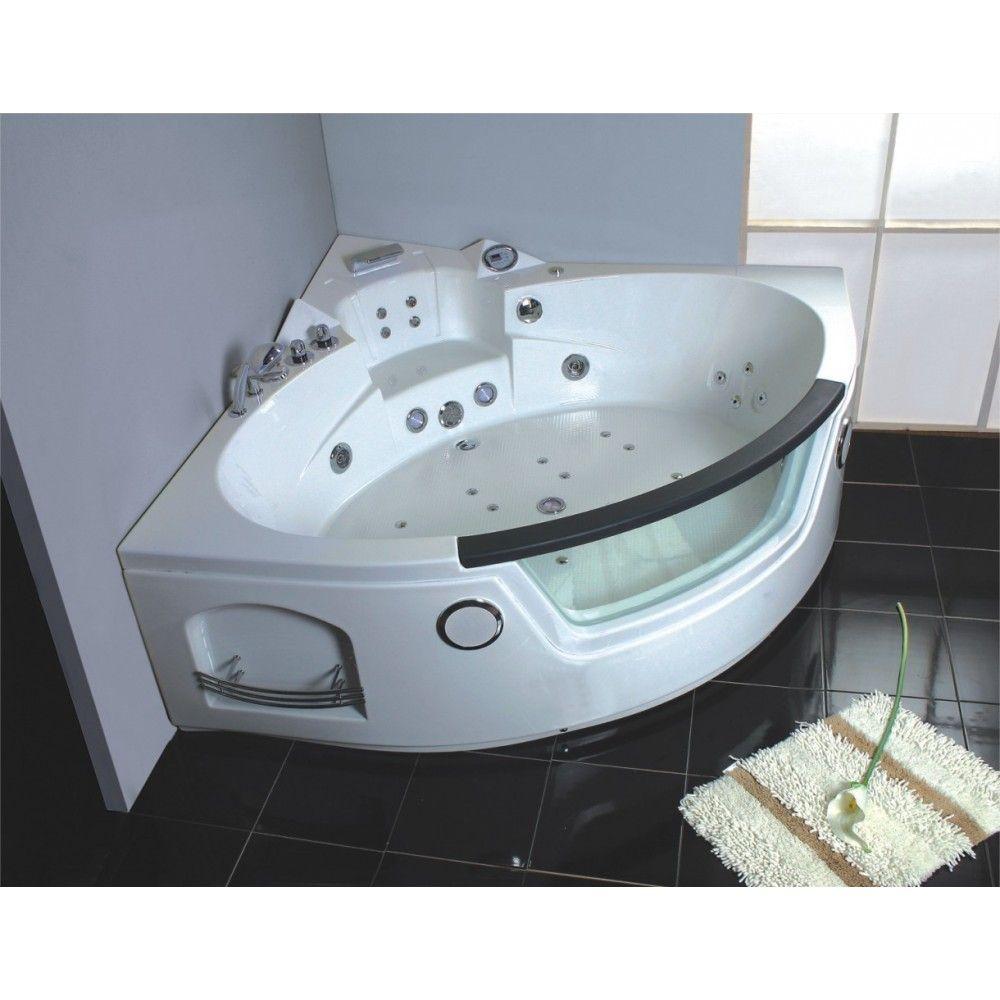 baignoire balneo d angle avec rechauffeur ozonateur radio fm et led multicolore 1395