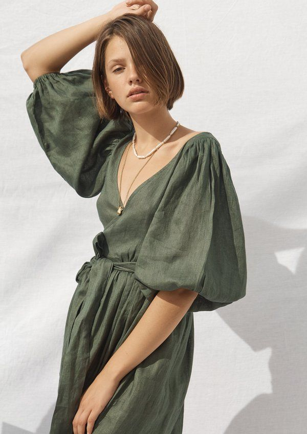 - 100% natural linen. - deep v neck midi wrap dress oversized baloon sleeve. - exaggerated waist tie.
