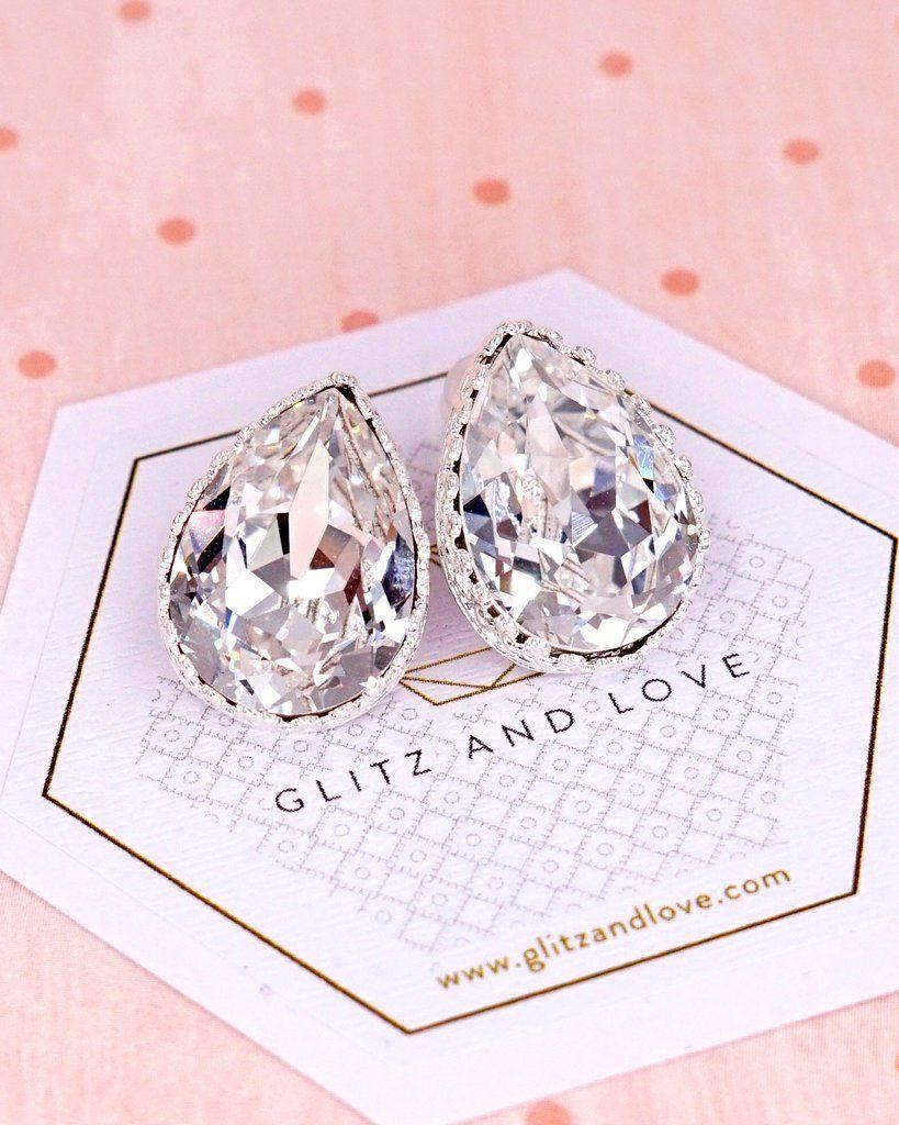 baa12a870 Silver Swarovski Teardrop Crystal Ear Studs, rose gold, Gold Earrings,  bridal jewelry, bridesmaid bridal shower gifts, wedding earrings, sparkly,  ...