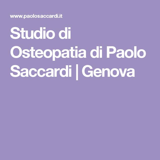 Studio di Osteopatia di Paolo Saccardi | Genova