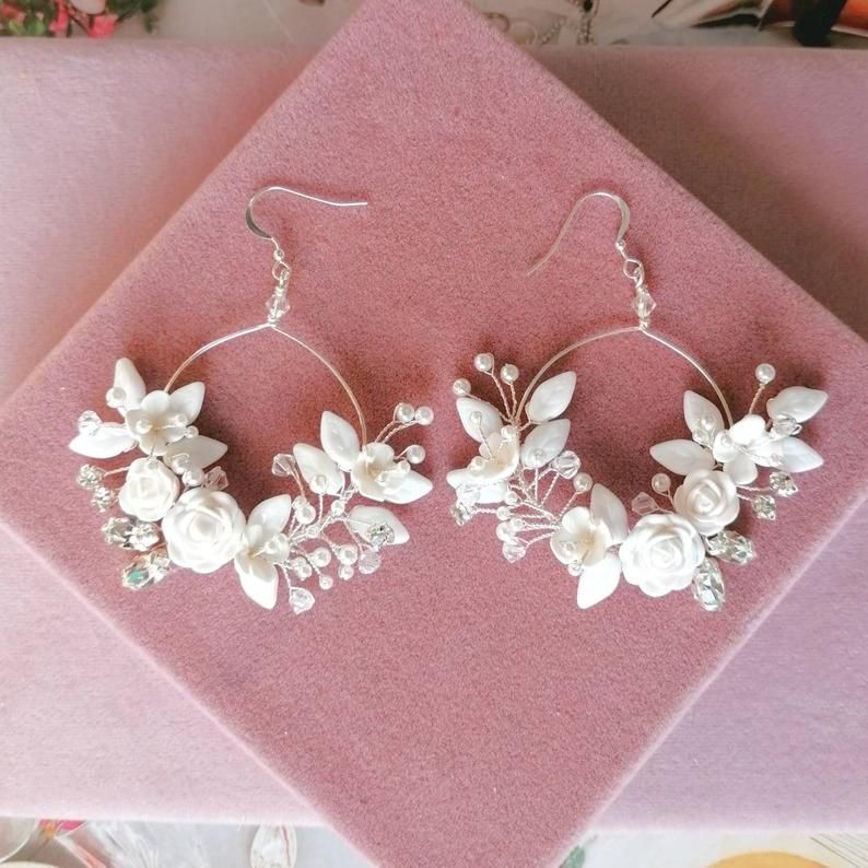 White Rose Earrings Flower Hoop Earrings White Bridal Hoops White Floral Earrings Wedding Earrings Sterling Silver Hoops Big Hoops In 2020 Sterling Silver Hoops Floral Earrings Rose Earrings