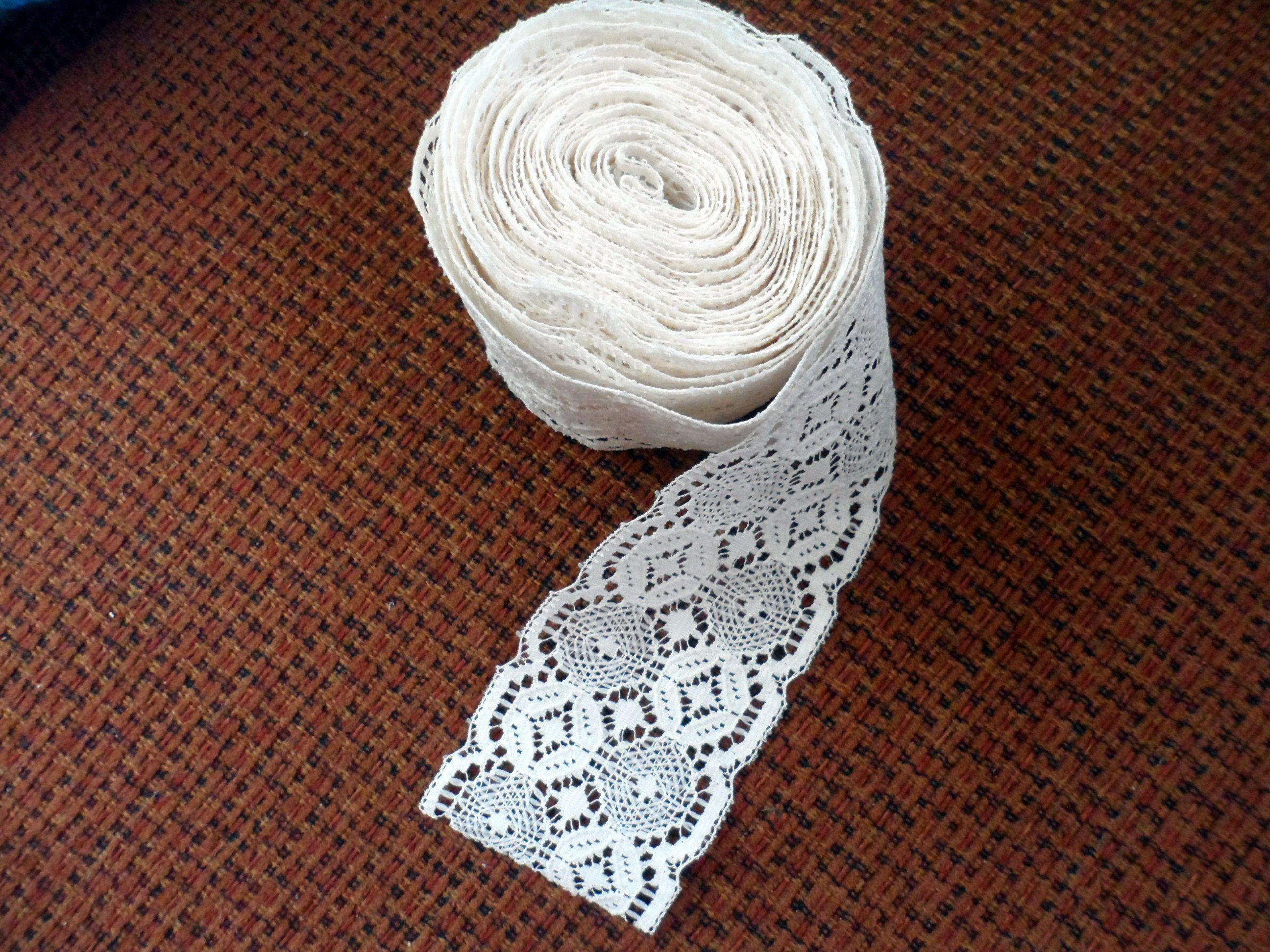 Vintage Ecru Cream Colored Cotton Lace Trim Flat Lace Trim Cream