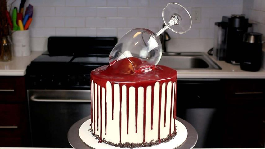 Chelsweets red wine drip cake food network wine cake