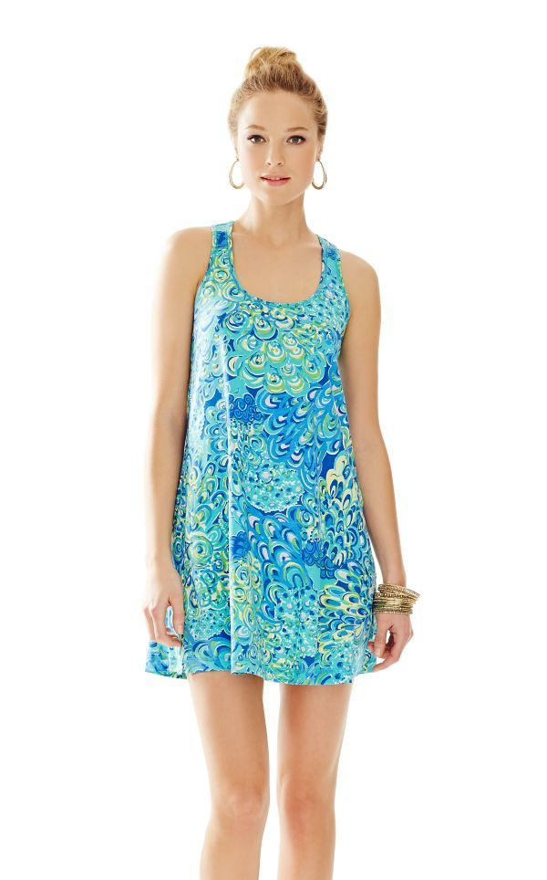 9ac568dcbd87e8 Lilly dresses are a little short, but I do love this print! The yellow in  it makes it perfect. Melle Trapeze Tank Dress - Lilly Pulitzer Sea Blue  Lillys ...