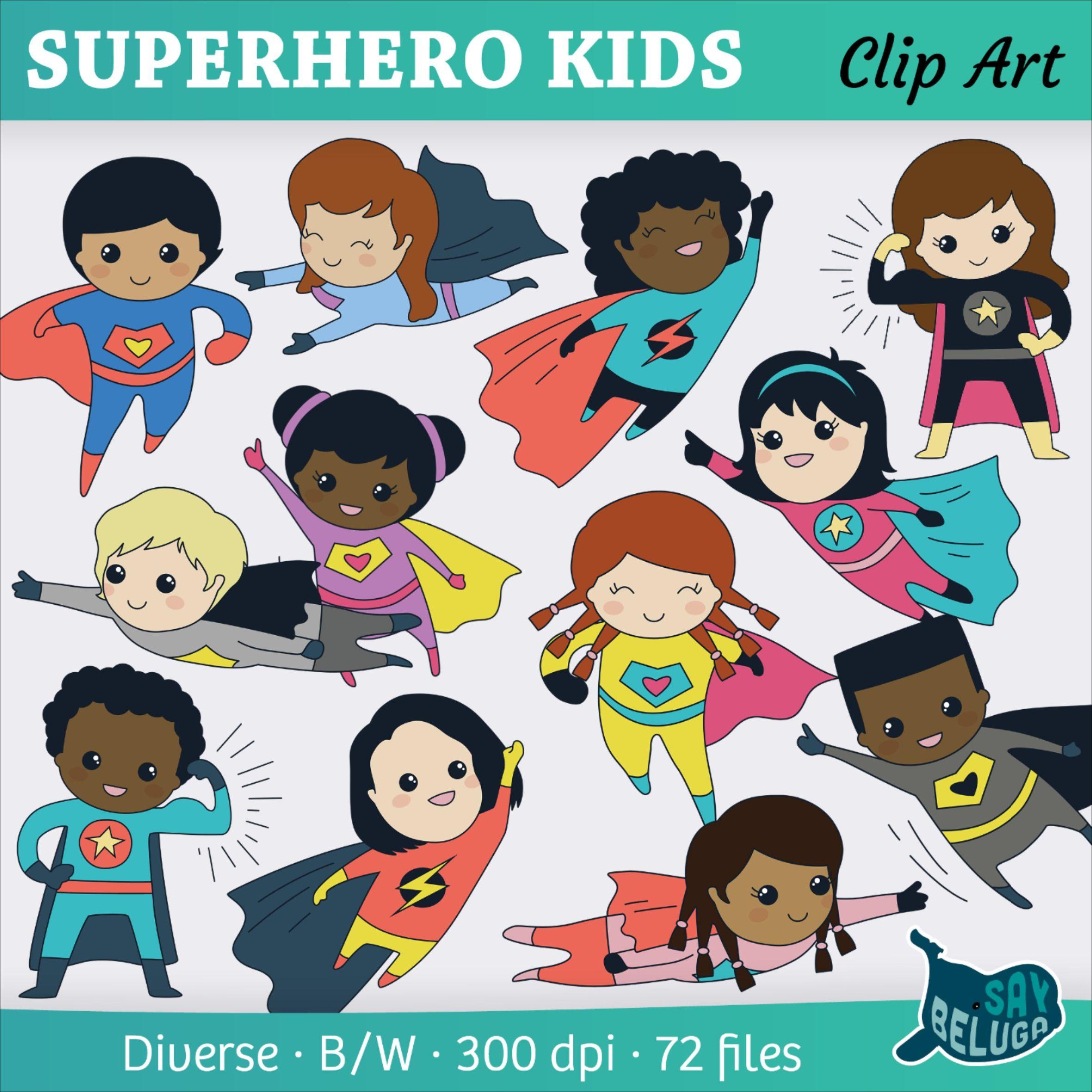 Cute Superhero Kids Clip Art Print And Digital In