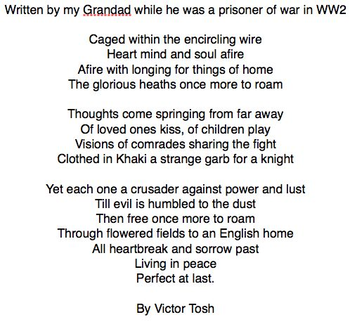 WW2 Prisoner of war poem By Vic Tosh | War unit | Pinterest | Poem