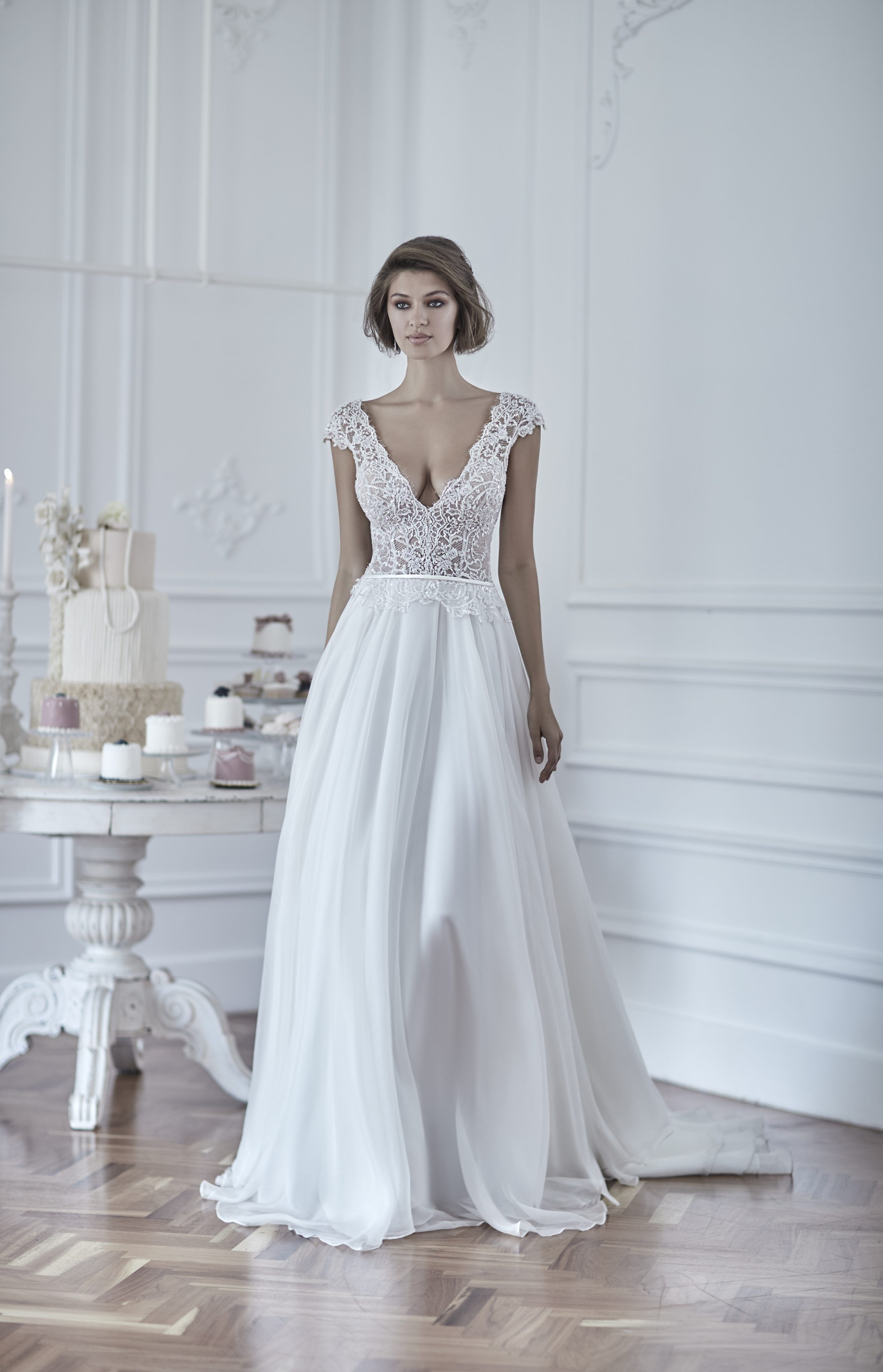 V-neck cap sleeve A-line gown with sheer embroidered corset bodice ...
