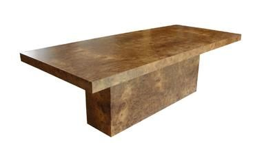 Hollywood Dining Table in Burl Wood Veneer with Solid Pedestal Base, Clear Satin Finish Also Available in Walnut with a Clear Finish: $7,180 Custom Sizes Available
