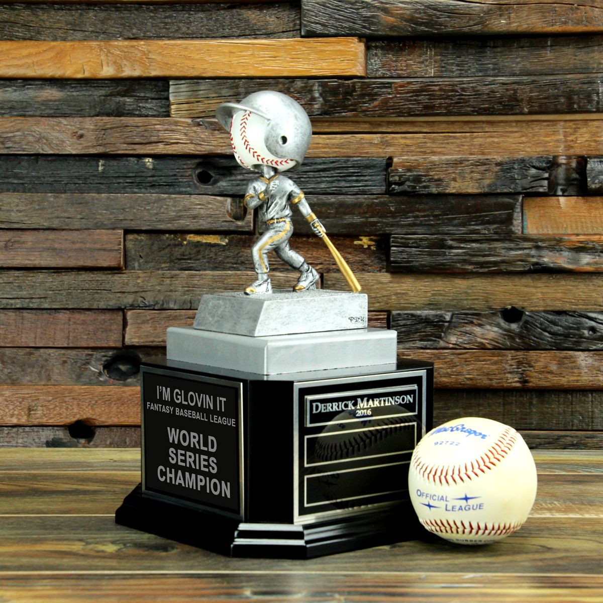 Playing In A Baseball League Or Participating In Fantasy Baseball Here S An Awesome Trophy To Award The Fantasy Baseball Fantasy Football Gifts Baseball Award